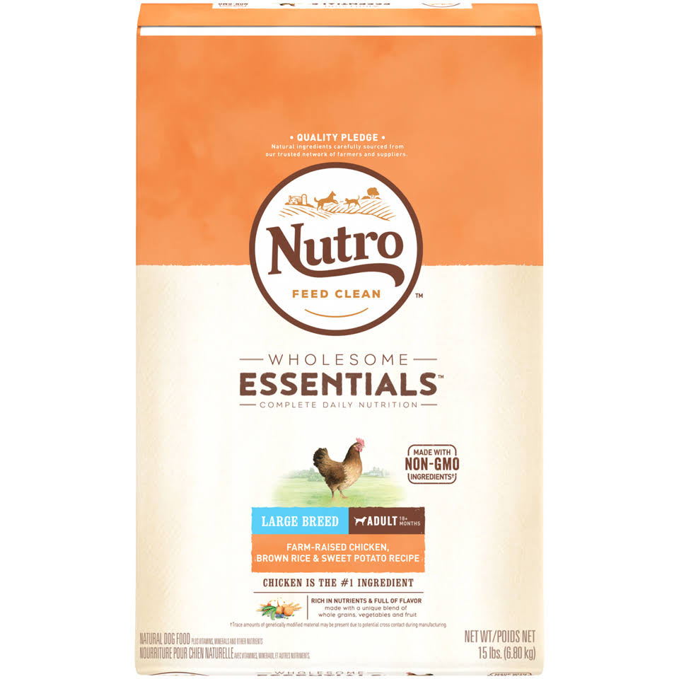 Nutro Large Breed Adult Dog Food - Chicken Whole Brown Rice and Oatmeal, 15lbs