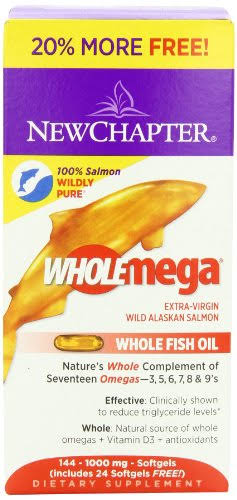 Chapter Wholemega Fish Oil Supplement - with Omega-3, Vitamin D3 and Astaxanthin, 144ct