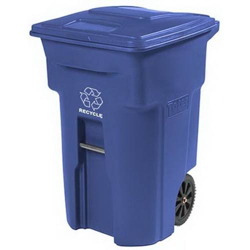 Toter Residential Heavy Duty Recycling Can with Attached - 2 Wheeled, 64gal