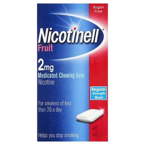 Nicotinell Fruit 2mg Medicated Chewing Gum - Regular Strength, 24pcs
