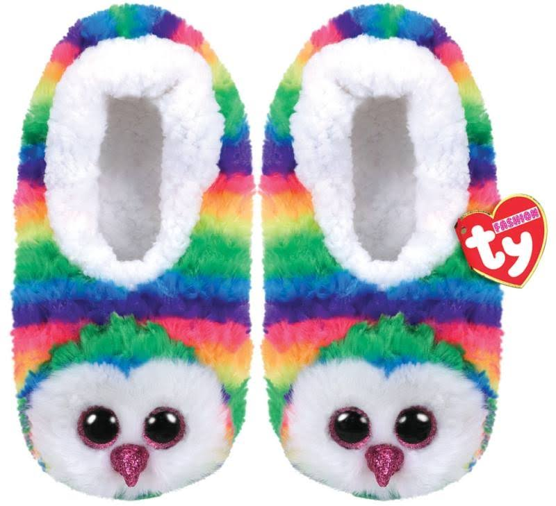 Ty Beanie Boos Plush Animal Slipper Socks - Owen the Owl, Small