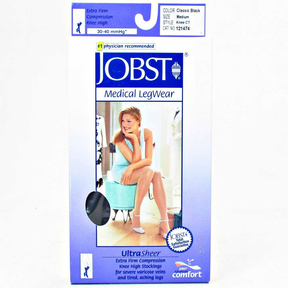 Jobst Ultrasheer 15-20 mmHg Small Black Thigh High Silicone Dot Band