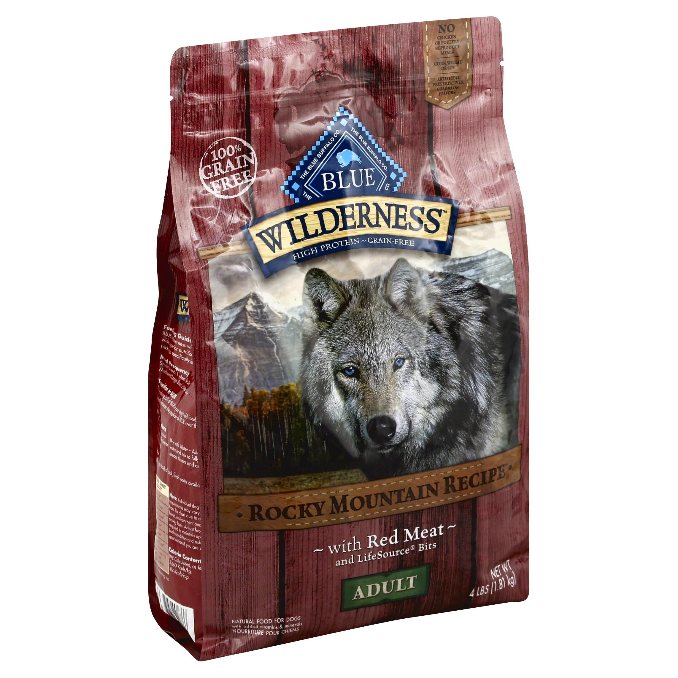 Blue Buffalo Wilderness Adult Dry Dog Food - Rocky Mountain Recipe with Red Meat, 4lb