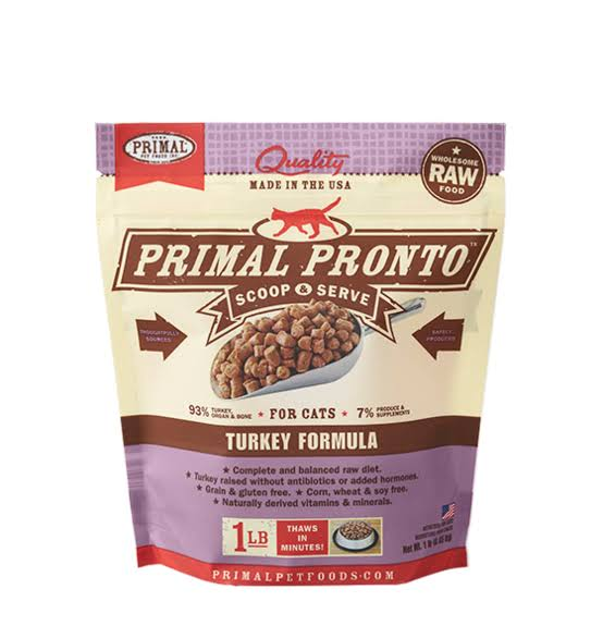 Primal Frozen Raw Pronto for Cats - Turkey Formula
