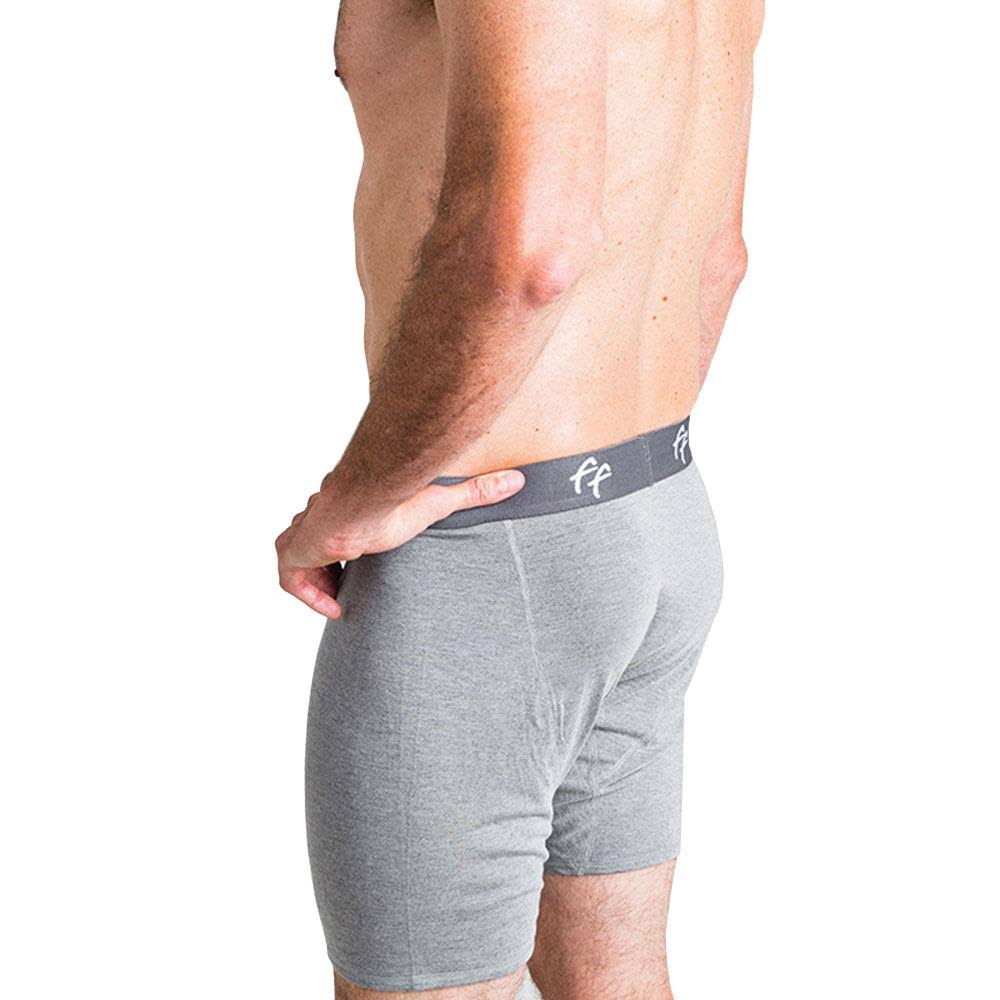 Free Fly Men's Bamboo Comfort Boxer Brief, Heather Grey / Large