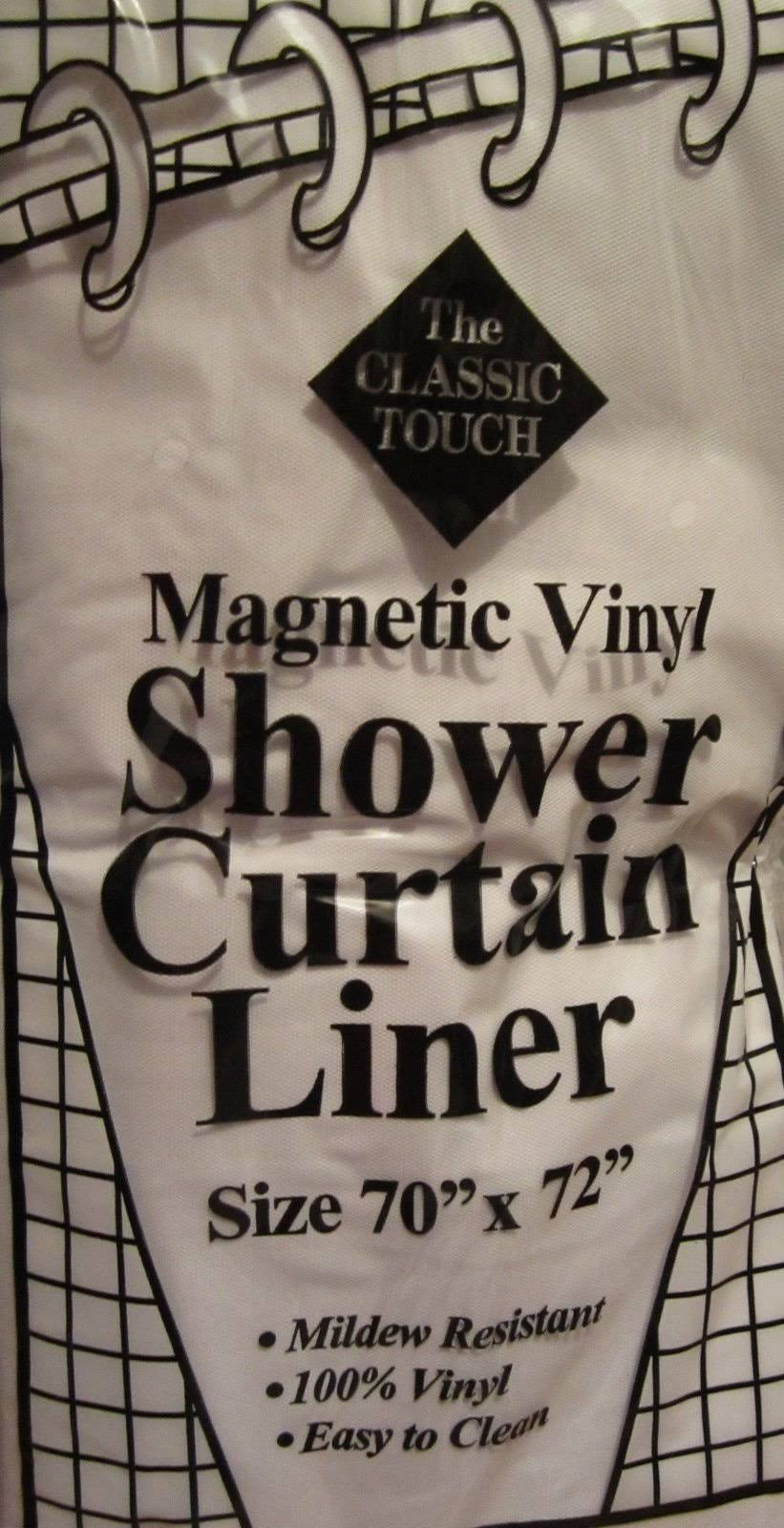 Magnetic Vinyl Shower Curtain Liner White The Classic Touch