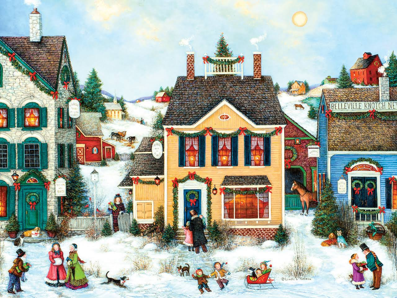 Cobble Hill 275pc Easy Handling Christmas Town