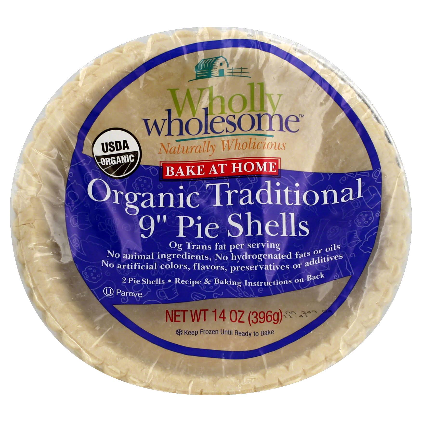 Wholly Wholesome Bake At Home Pie Shells, Organic Traditional, 9 Inch - 2 shells, 14 oz