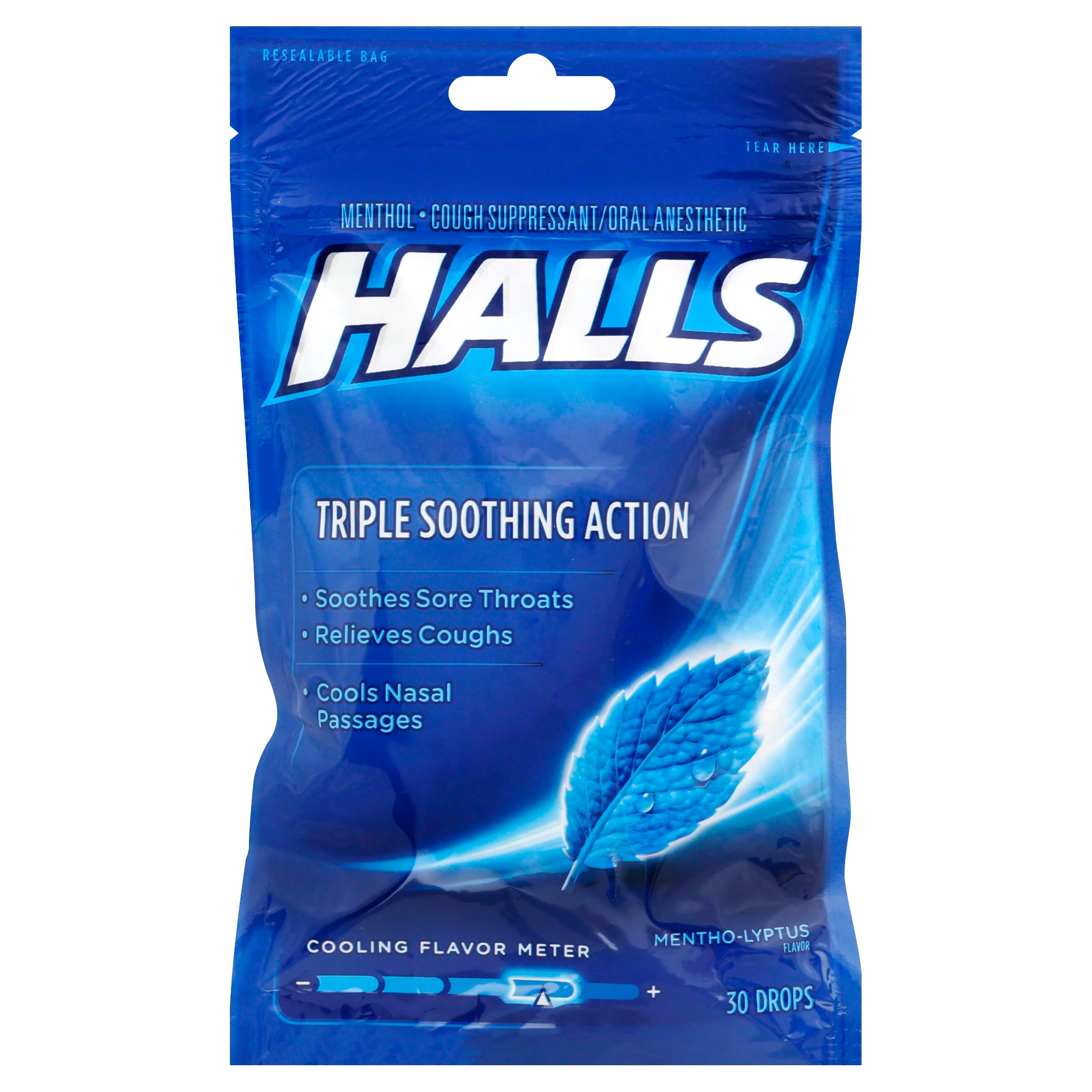 Halls Triple Soothing Action Cough Drops - Mentho-Lyptus Flavor, 30ct
