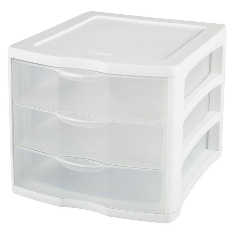 Sterilite Clearview 3-Compartment Plastic Drawer Unit - White
