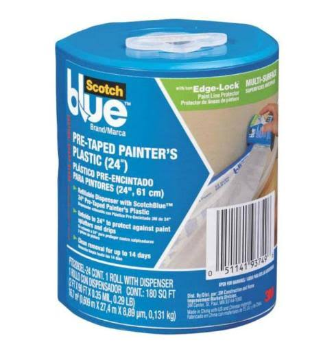 "3M Scotch Blue Pre-Taped Painter's Plastic - 24"" x 30yds, 24ct"