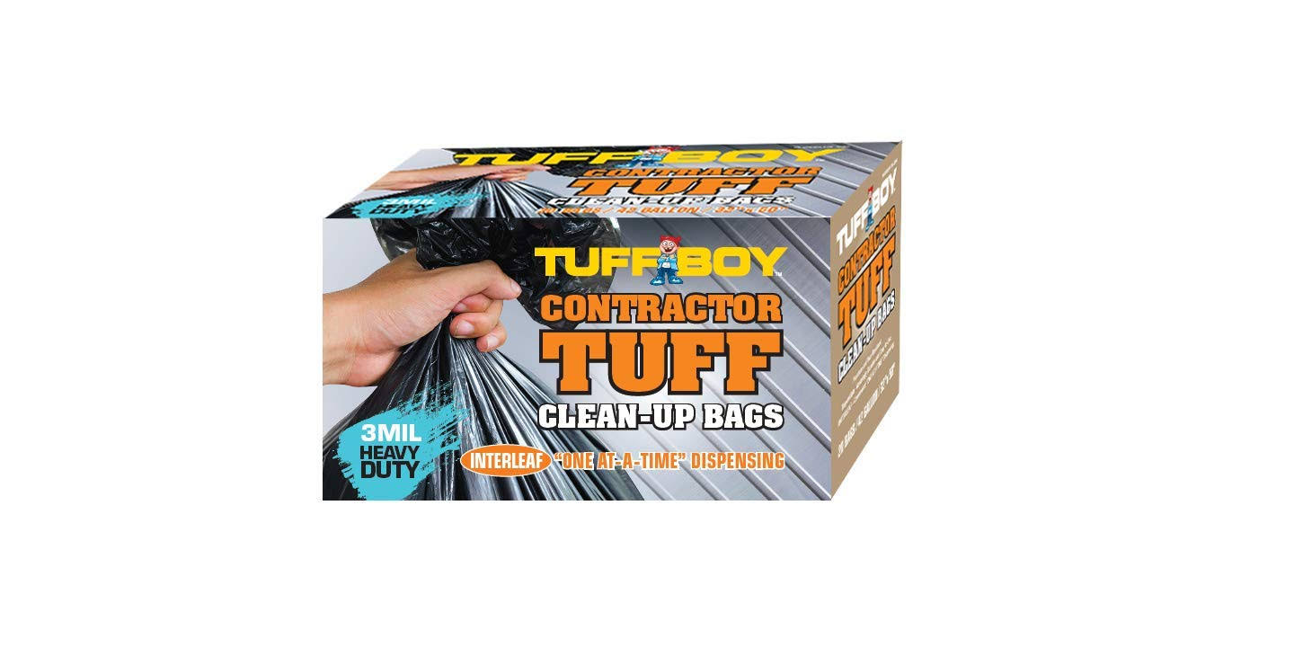TUFFBOY Contractor Tuff Clean-Up Trash Bags | 32 x 50 3 Mil Heavy Duty | Box of 20