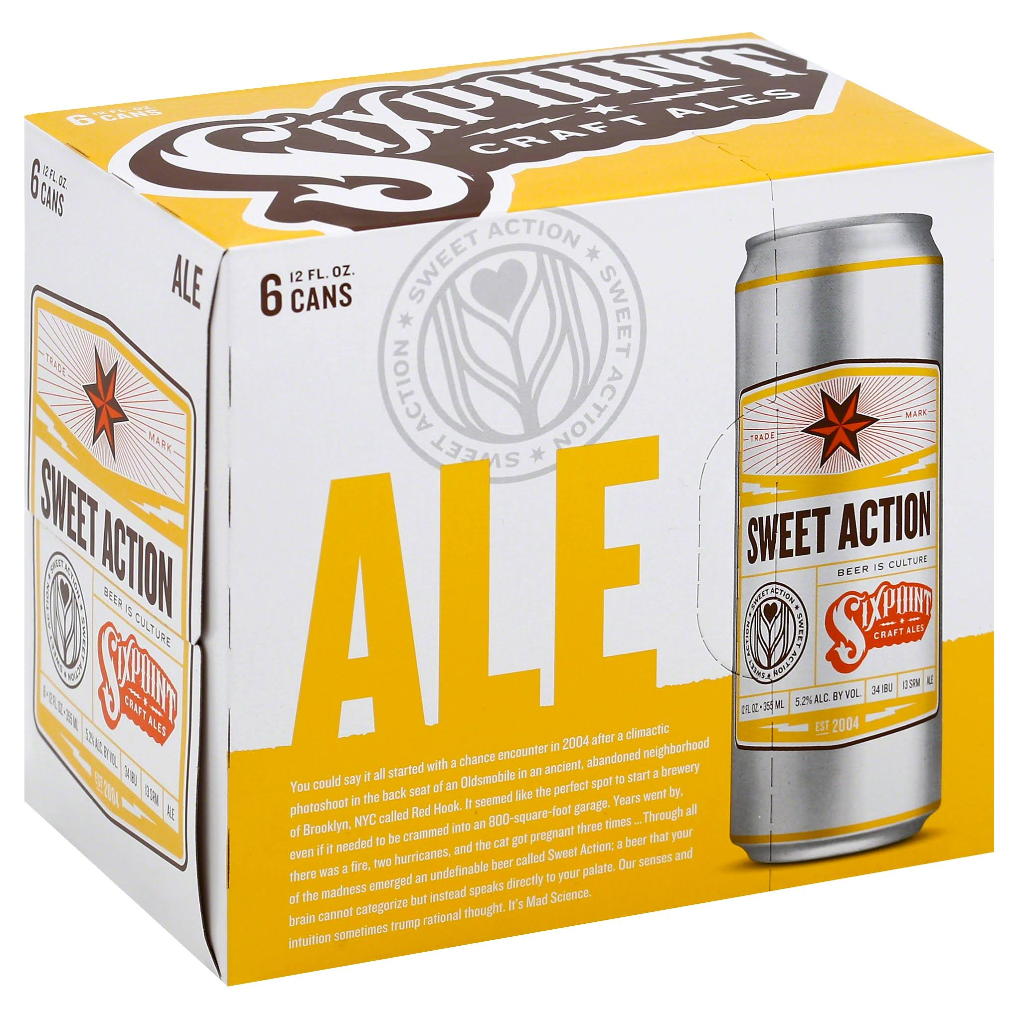 Sixpoint Beer, Ale, Sweet Action - 6 pack, 12 fl oz cans