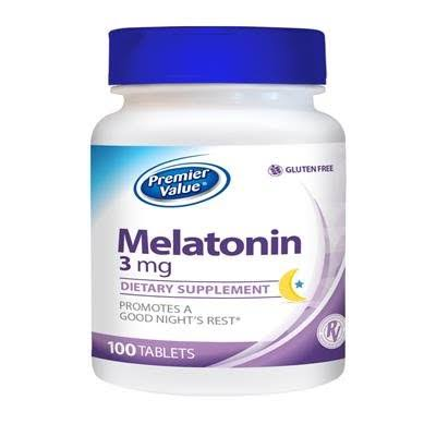 Premier Value Melatonin Vitamin Supplement - 3 mg Tablet 100ct. Premier Value.