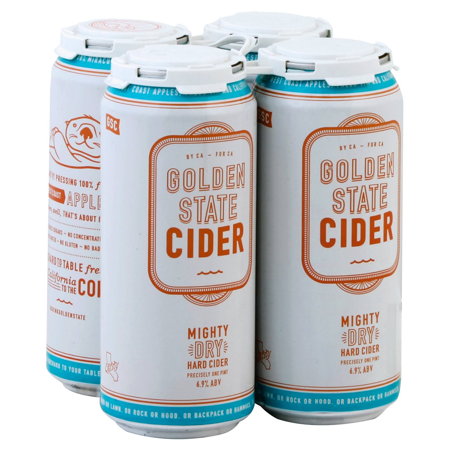 Golden State Cider Hard Cider, Mighty Dry - 4 pack, 1 pint cans