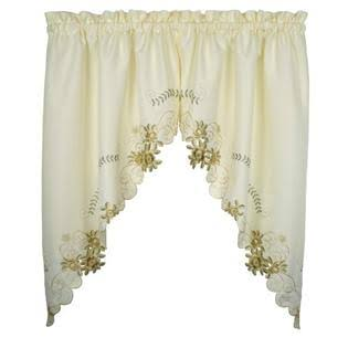 Today's Curtain Verona Reverse Embroidery Window Swag - Ecru, 38''