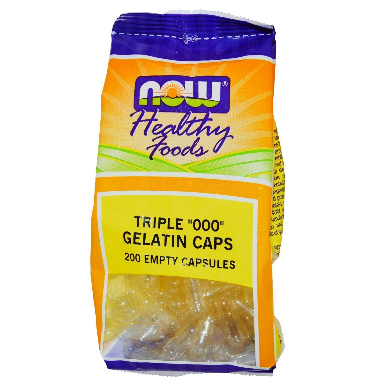 "Now Foods Triple 000"" Gelatin Caps - 200 Capsules"