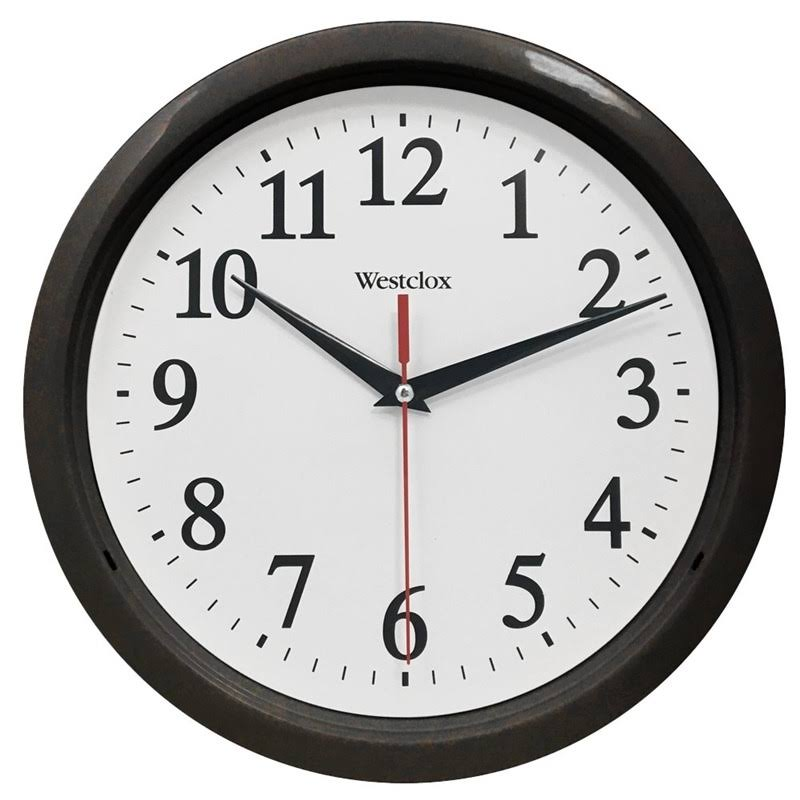 "Westclox 461861 Wall Clock - Black, 10"" Round"