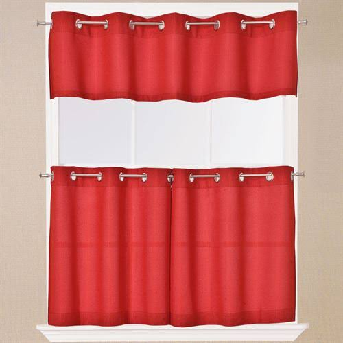 "Lorraine Home Jackson Kitchen Curtain: 24"" Tier Pair Red"