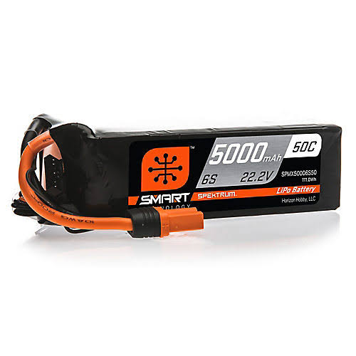 Spektrum 22.2V 5000mAh 6s 50C Smart Lipo battery, Ic5, SPMX50006S50