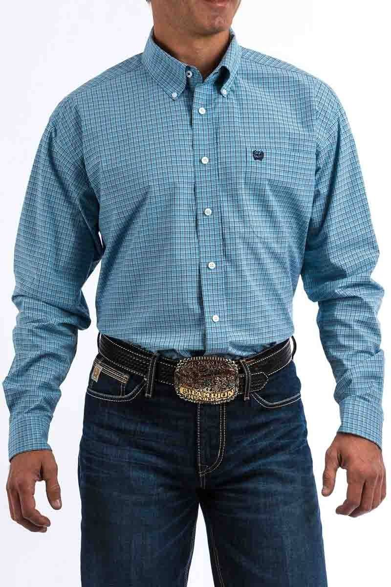 Cinch Men's Blue Long Sleeve Plaid Shirt