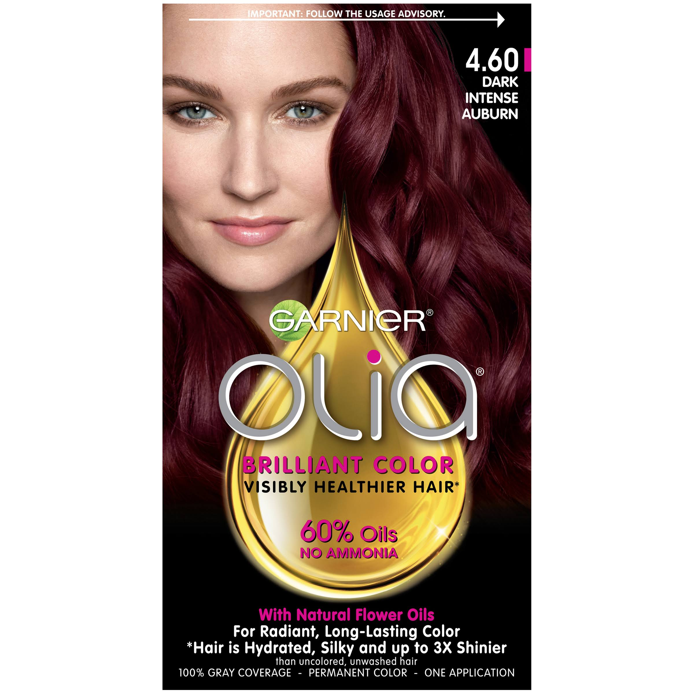 Garnier Olia Oil Powered Permanent Haircolor - 4.60 Dark Intense Auburn