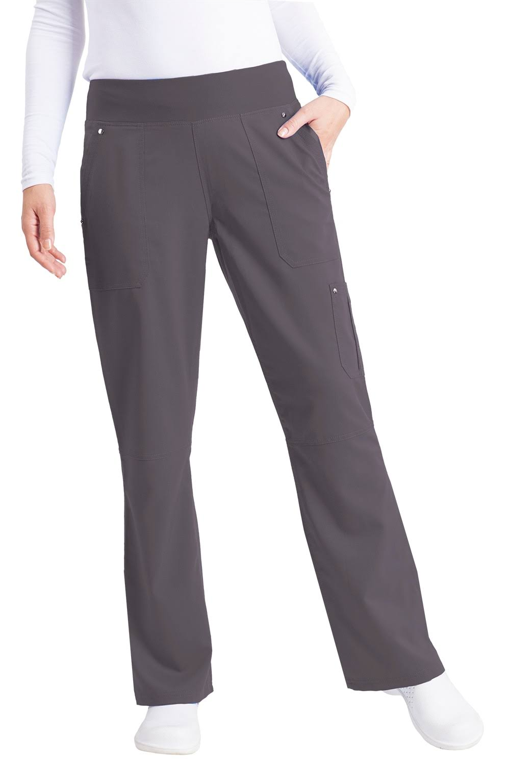 Healing Hands Tori Pant Scrub Bottoms - Pewter, X-Small Petite