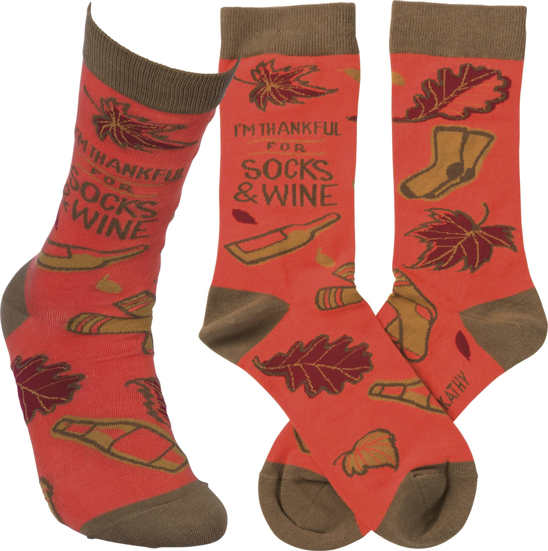 Primitives by Kathy Funny Novelty Socks - I'm Thankful for Socks and Wine, Women's, Size: One size, Red