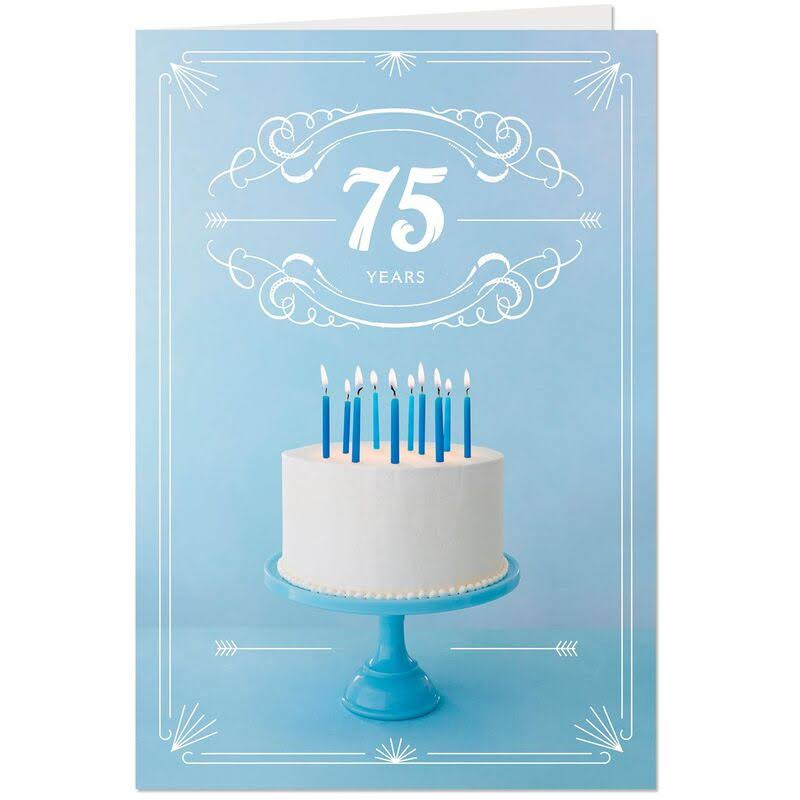 Cake with Candles 75th Birthday Card