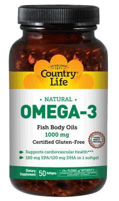 Country Life Omega-3 Fish Oil-1000mg Dietary Supplement - 100 Softgel