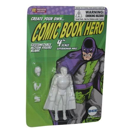 Spherewerx Create Your Own Comic Book Hero Superhuman Male Customizing Blank 4 inch Action Figure