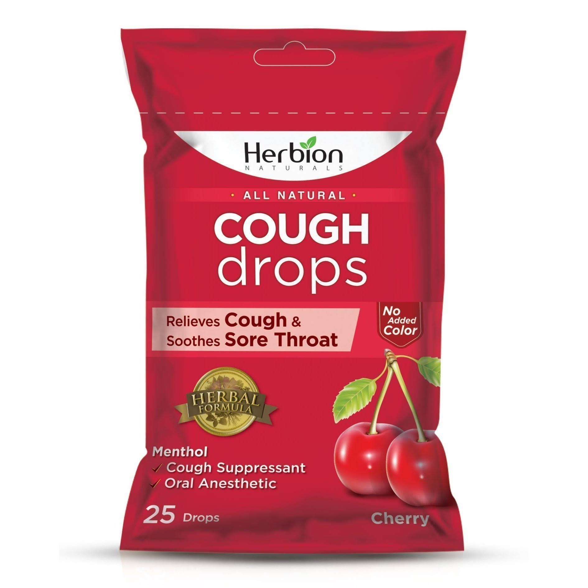 Herbion All Natural Cough Drops - Cherry, 25 Drops