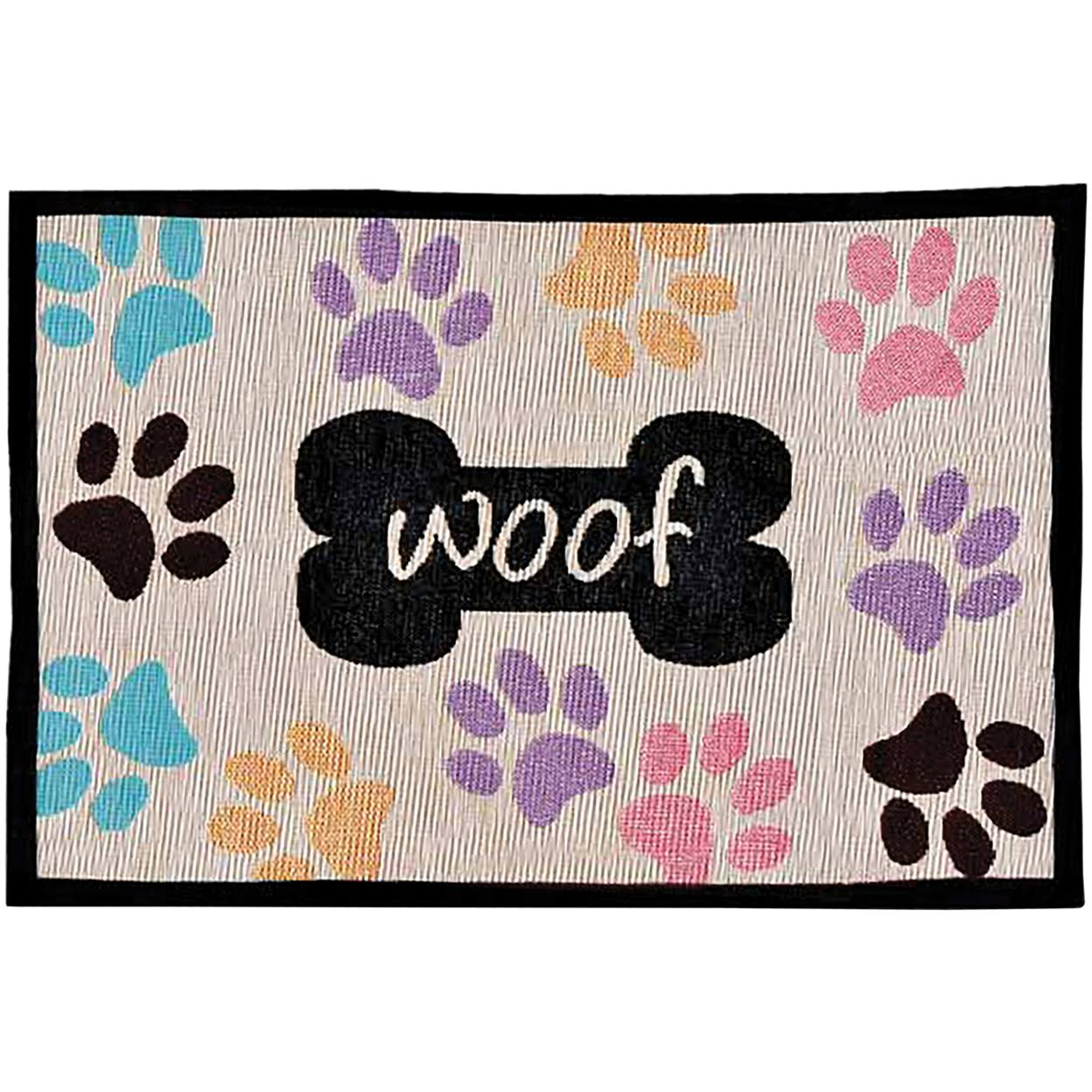 "Bella Multi Paws Fashion Mats - Woof, 12.75"" x 19"""