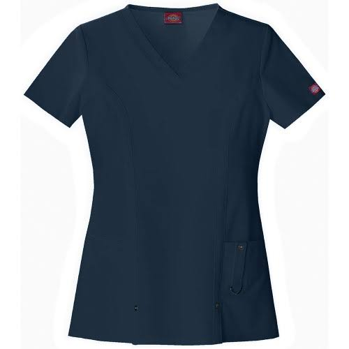 Dickies Scrubs Women's Xtreme Stretch Junior Fit V-Neck Shirt - Navy, XX-Large