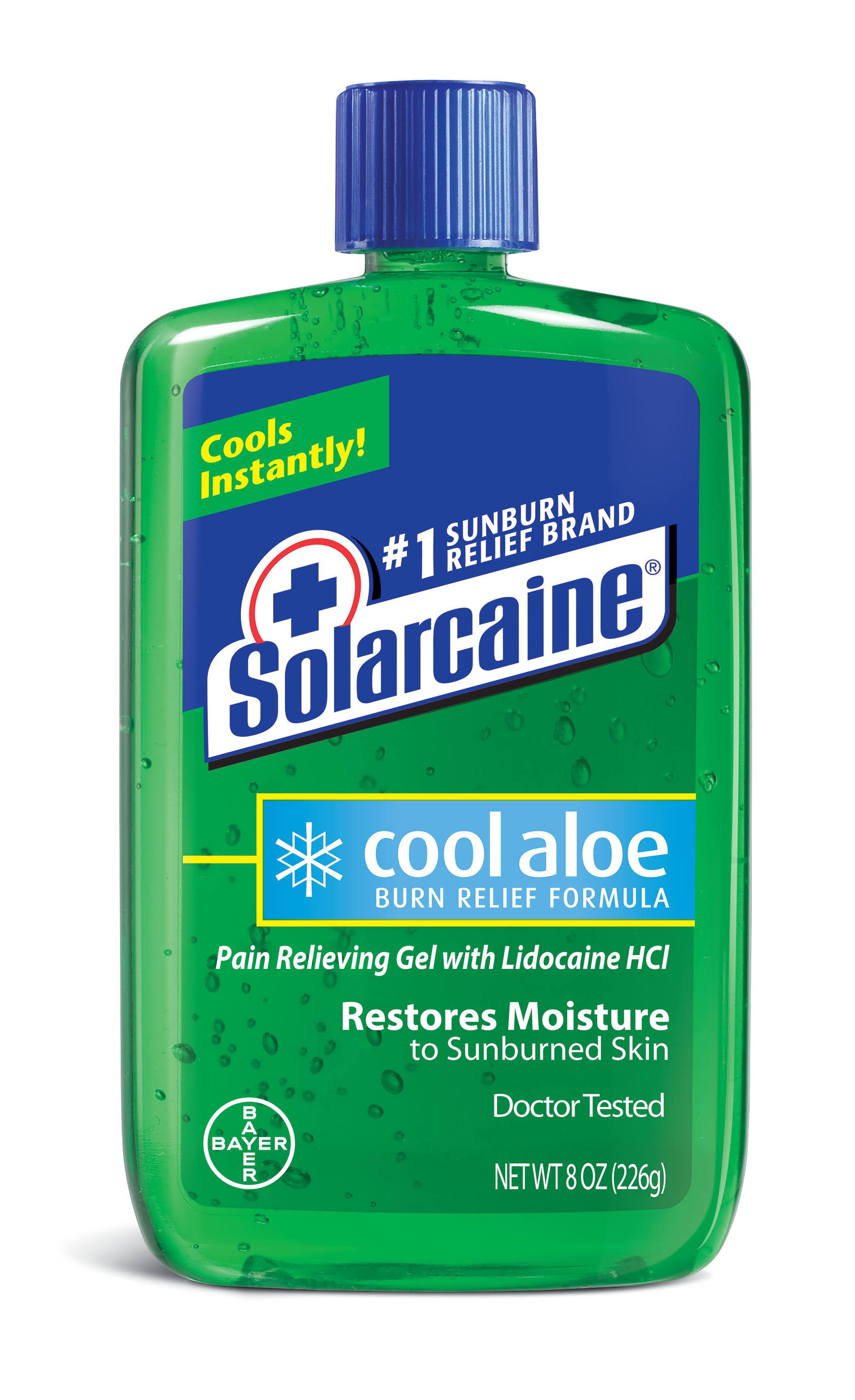 Bayer Solarcaine Cool Aloe Pain Relieving Gel - with Lidocaine HCl, 8oz