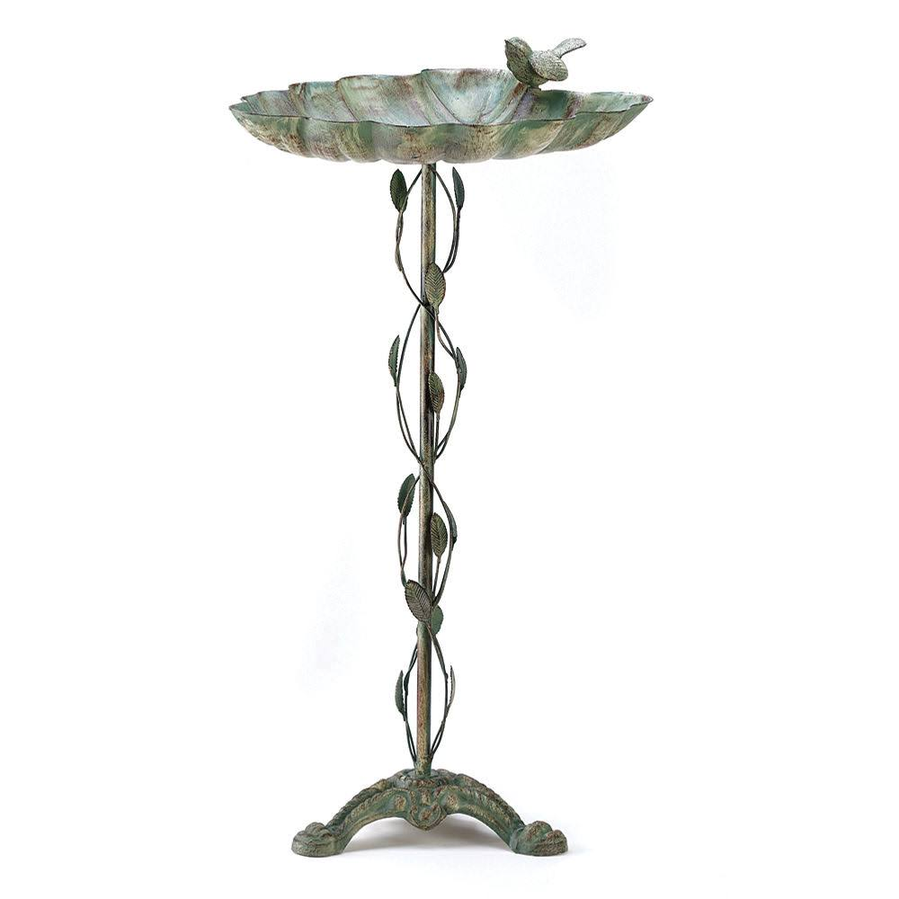Cast Iron Verdigris Leaf Birdbath Feeder Home Garden Patio Decor