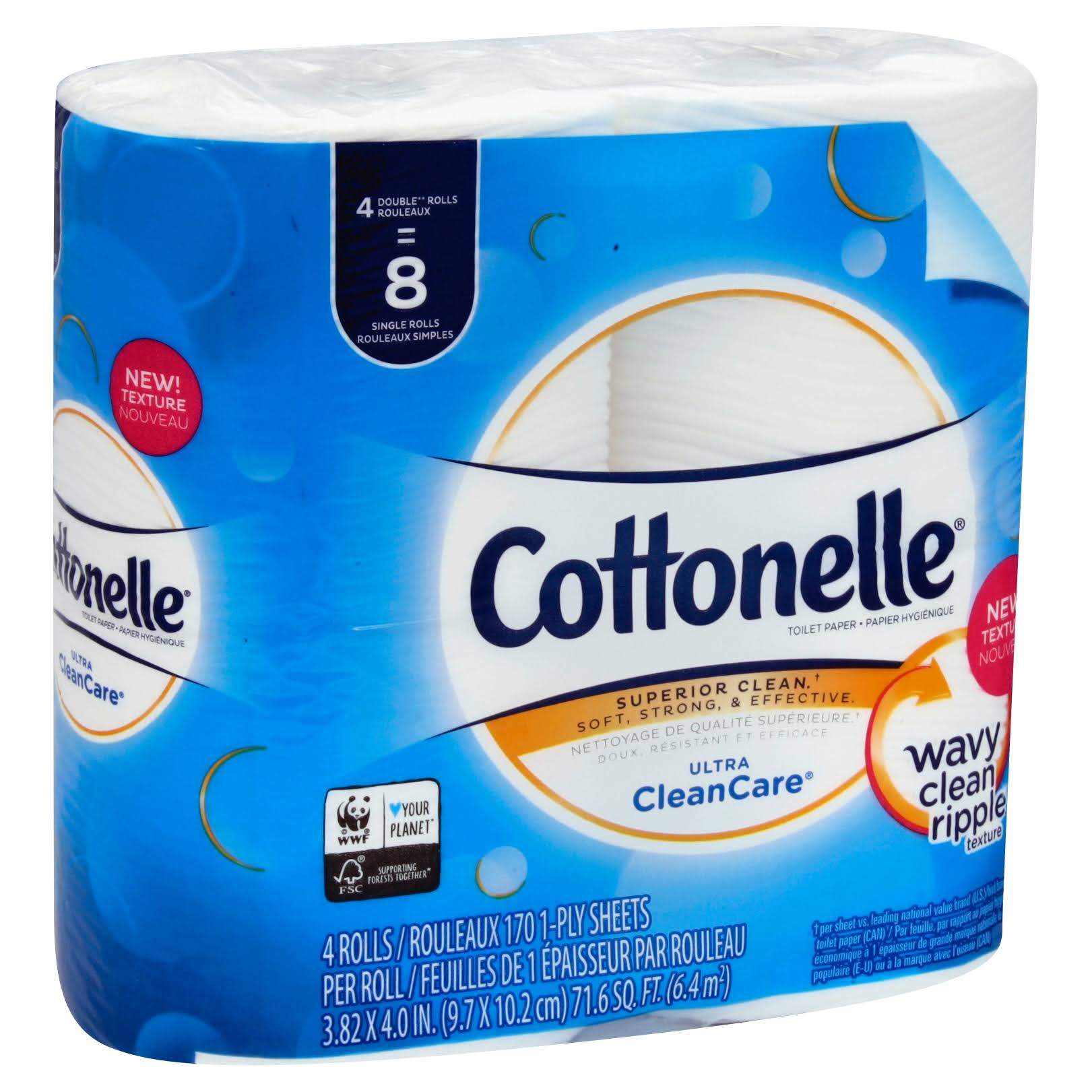 Cottonelle Ultra CleanCare Toilet Paper, Double Rolls, 1 Ply - 4 rolls