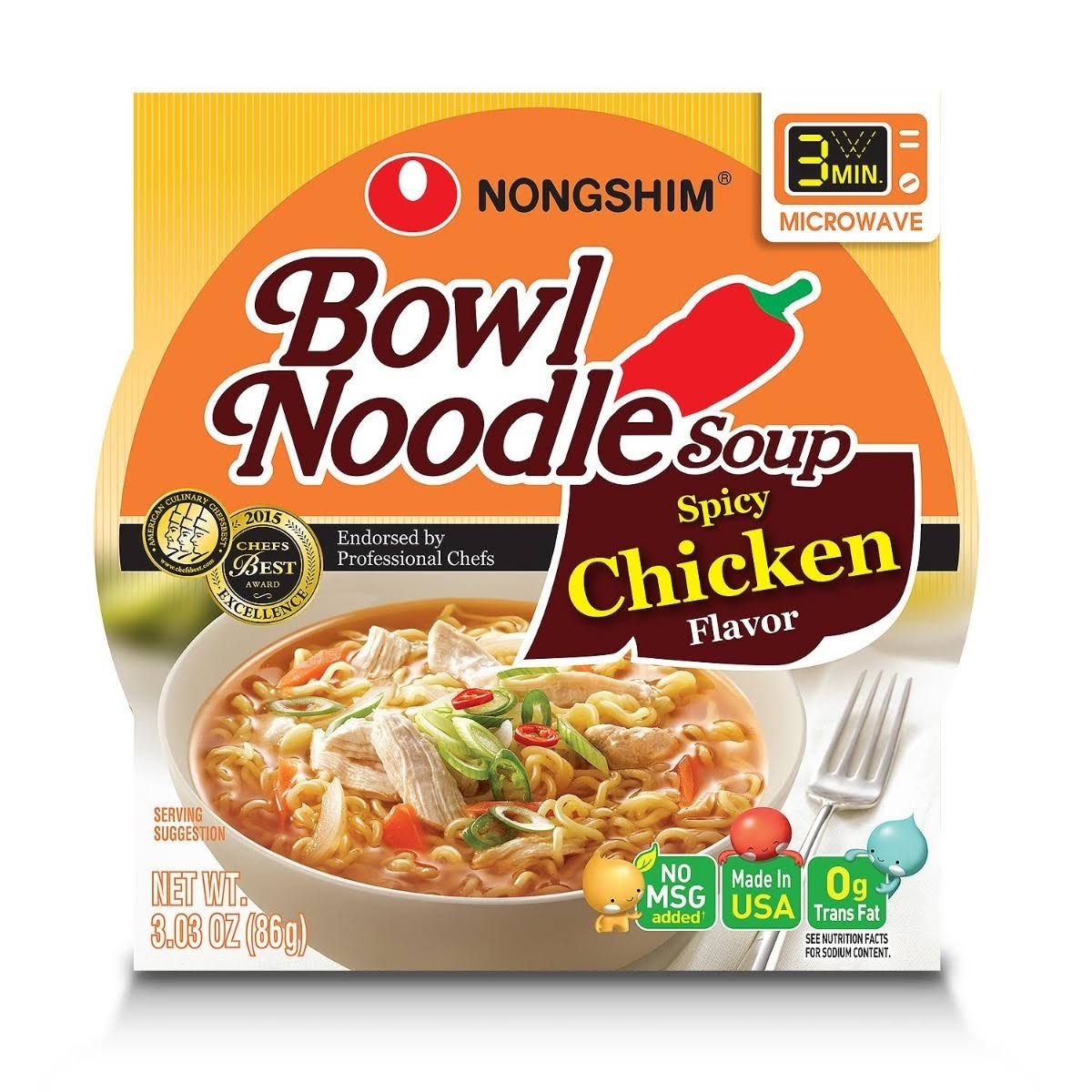 Nongshim Bowl Noodle Soup - Spicy Chicken, 3.03oz