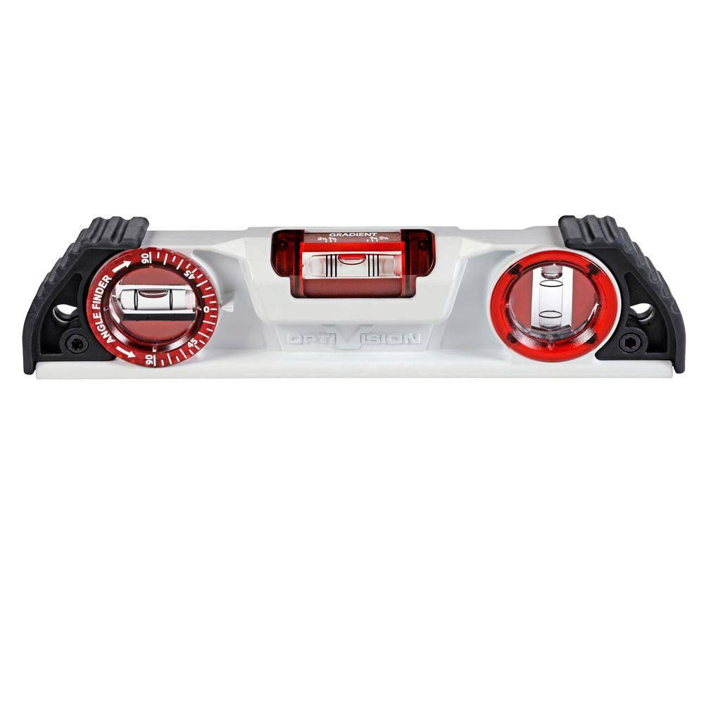 Kapro 935-10 Magnetic Cast Torpedo Level - with Optivision and Angle Finder, 10""