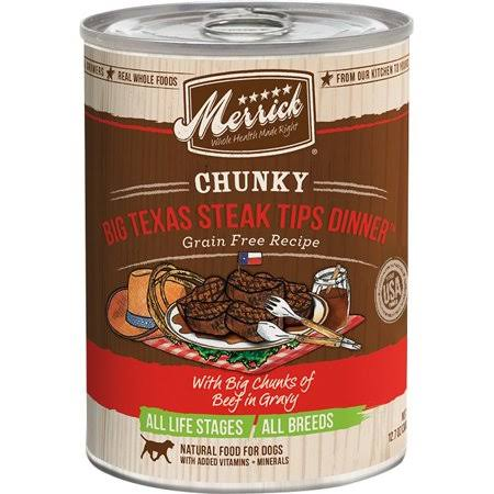 Merrick Chunky Big Texas Steak Tips Dinner Canned Dog Food - 12.7oz
