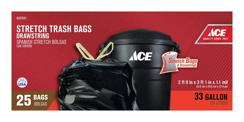Ace Kitchen Stretch Trash Bag, 33 gal - 25 count