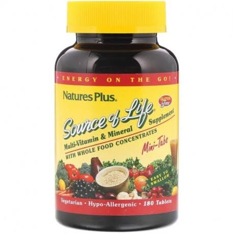 Nature's Plus Source of Life Multi-vitamin & Mineral Supplement - 180 Tablets