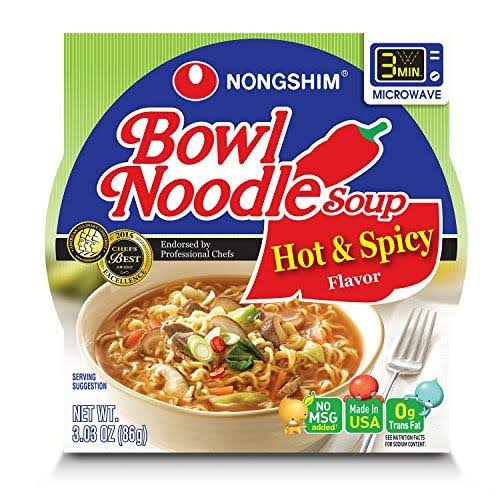 Nongshim Bowl Noodle Soup - Hot and Spicy, 3.03oz