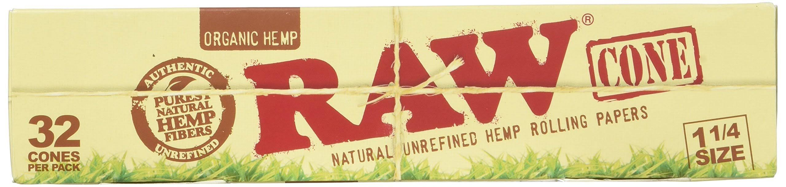 RAW Organic Unrefined Pre-Rolled Cone - 1-1/4 Size, x32