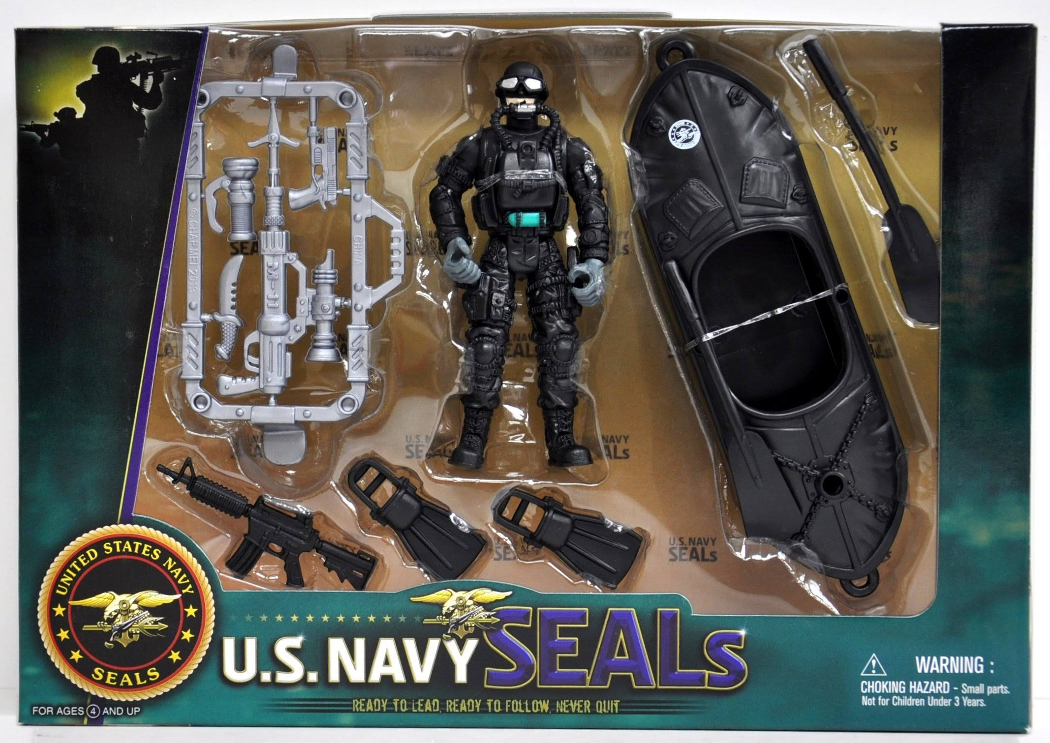 United States Navy Seal Figure Playset with Accessories and Watercraft