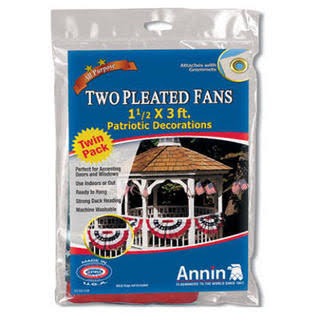 "Annin Mini American U.s. Patriotic Pleated Fan - 1.5"" x 3', 2pk"