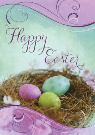 Designer Greetings Pink, Green and Yellow Eggs Easter Card