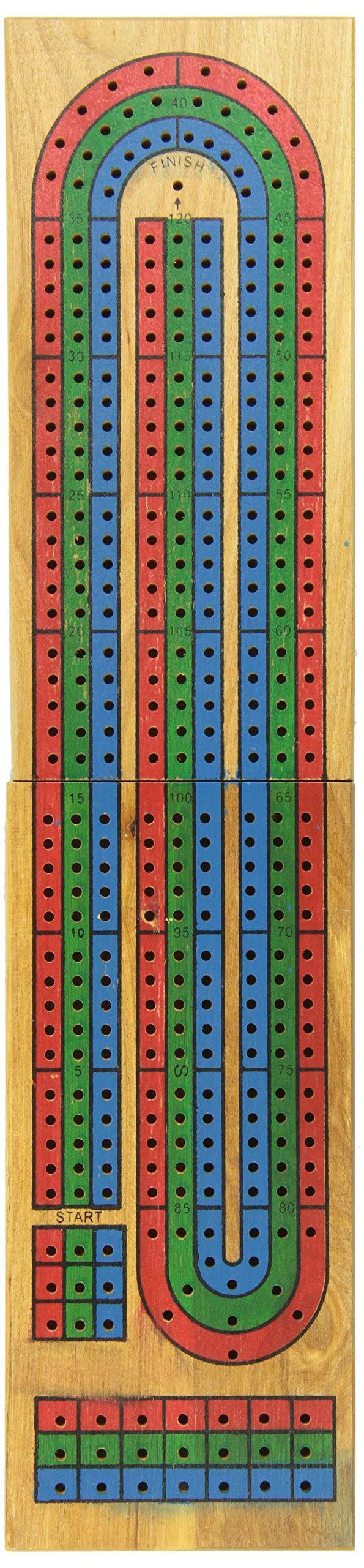 Cardinal Classic Games Solid Wood 3 Track Cribbage Board Game