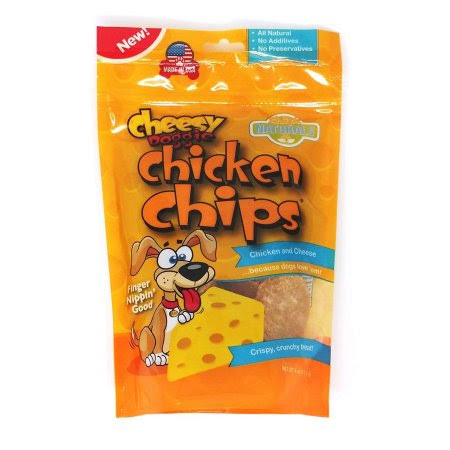 Cheesy Doggie Chicken Chips Dog Treats Made in USA - 4 oz 100% Chicken