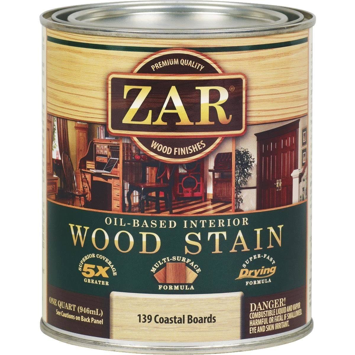 Zar 13912 Coastal Boards Oil Based Wood Stain - White, 1 Quart